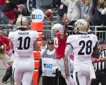 Chris Fields celebrates his late game TD catch against the Boilermakers.