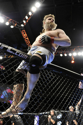 Dec 15, 2012; Las Vegas, NV, USA; Roy Nelson celebrates his win over Matt Mitrione (not pictured) during their heavyweight bout in the Ultimate Fighter Finale at The Joint at the Hard Rock Hotel and Casino. Smith won by unanimous decision. Mandatory Credi