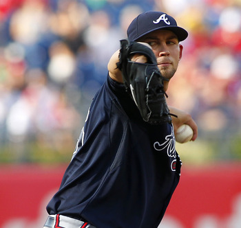 PHILADELPHIA, PA - SEPTEMBER 22: Mike Minor #36 of the Atlanta Braves delivers a pitch against the Philadelphia Phillies during a MLB baseball game on September 22, 2012 at Citizens Bank Park in Philadelphia, Pennsylvania. The Braves defeated the Phillies