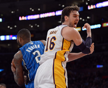 Pau Gasol needs to get touches in the post to be effective.  He is not a seven-foot point guard.