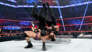 Ryback put two members of The Shield up for a double suplex onto a ladder but The Shield would get the last laugh as they won the match. Photo Courtesy of WWE.com