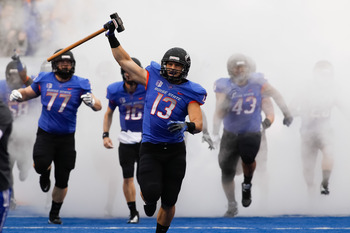 Boise State Broncos running out of the tunnel