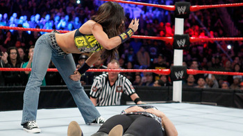 AJ Lee once again turned on a Superstar in grand fashion. Photo Courtesy of WWE.com