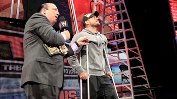 CM Punk spoke to the TLC crowd, but was unable to participate. Photo Courtesy of WWE.com