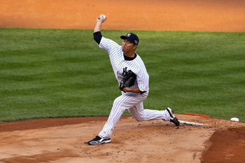Hiroki Kuroda delivers a pitch during Game 2 of the 2012 ALCS against the Detroit Tigers