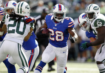 C.J. Spiller leads all NFL running backs with an average 6.5 yards per rush.