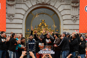 Recreating one of Hunter Pence's speeches, this time at the World Series celebration ceremony.
