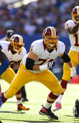 Tyler Polumbus is one of the walking wounded in the offensive line for the Redskins. The unit has performed well in 2012 and must continue against a deceptively talented Eagles front.