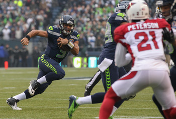 Seahawks quarterback Russell Wilson leads all rookie QBs in touchdown passes this season (21).