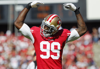 Aldon Smith is tied for the league lead in sacks with 19.5 this season.