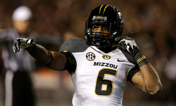 COLLEGE STATION, TX - NOVEMBER 24:  Marcus Murphy #6 of the Missouri Tigers waits on the field against the Texas A&amp;M Aggies at Kyle Field on November 24, 2012 in College Station, Texas.  (Photo by Scott Halleran/Getty Images)