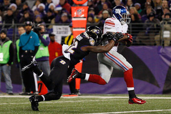 RB David Wilson scored a TD vs. Baltimore.