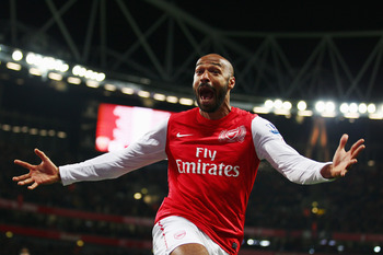 Thierry Henry celebrates against Leeds