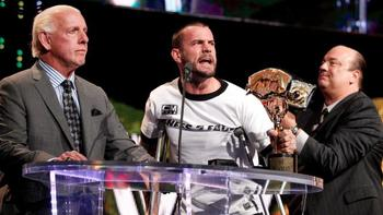 WWE Champion CM Punk confronts Ric Flair at the Slammy Awards. (Courtesy of WWE.com)