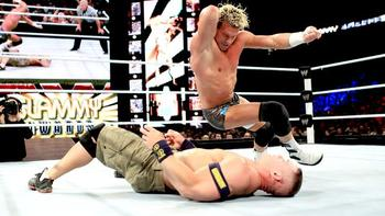 Dolph Ziggler delivers a flurry of offense on John Cena. (Courtesy of WWE.com)
