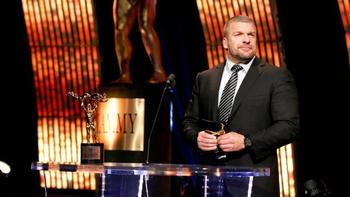 Triple H accepts his Slammy Award on Raw. (Courtesy of WWE.com)