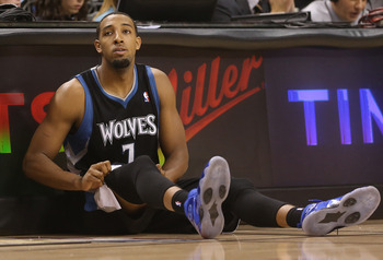 Nov 4, 2012; Toronto, ON, Canada; Minnesota Timberwolves forward Derrick Williams (7) gets ready to come into the game against the Toronto Raptors at the Air Canada Centre. The Raptors beat the Timberwolves 105-86. Mandatory Credit: Tom Szczerbowski-USA T
