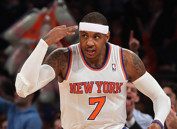 Carmelo Anthony celebrates a basket against the Los Angeles Lakers.
