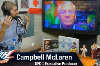Campbell McLaren talks with Ariel Helwani. (Photo courtesy MMAfighting.com)