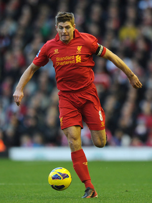 LIVERPOOL, ENGLAND - DECEMBER 01:  Steven Gerrard of Liverpool in action during the Barclays Premier League match between Liverpool and Southampton at Anfield on December 1, 2012 in Liverpool, England.  (Photo by Chris Brunskill/Getty Images)