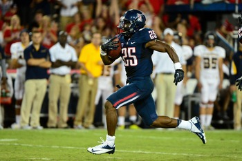 Ka'Deem Carey ran for 147 yards in Arizona's opener against Toledo.