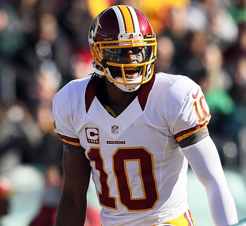 PHILADELPHIA, PA - DECEMBER 23:  Robert Griffin III #10 of the Washington Redskins prepares to take the snap against the Philadelphia Eagles at Lincoln Financial Field on December 23, 2012 in Philadelphia, Pennsylvania.  (Photo by Alex Trautwig/Getty Imag