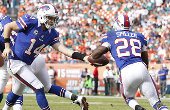 MIAMI GARDENS, FL - DECEMBER 23: Ryan Fitzpatrick #14 hands the ball off to C.J. Spiller #28 of the Buffalo Bills against the Miami Dolphins on December 23, 2012 at Sun Life Stadium in Miami Gardens, Florida. The Dolphins defeated the Bills 24-10. (Photo