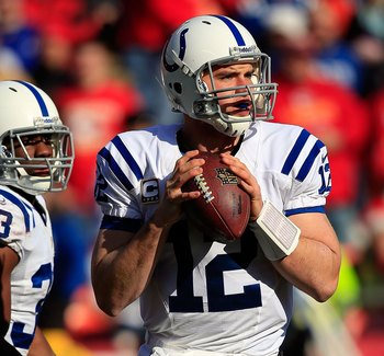 KANSAS CITY, MO - DECEMBER 23:  Quarterback Andrew Luck #12 of the Indianapolis Colts in action during the game against the Kansas City Chiefs at Arrowhead Stadium on December 23, 2012 in Kansas City, Missouri.  (Photo by Jamie Squire/Getty Images)