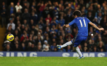 Oscar scored his first English Premier League goal on Sunday against Aston Villa on this penalty kick he earned.