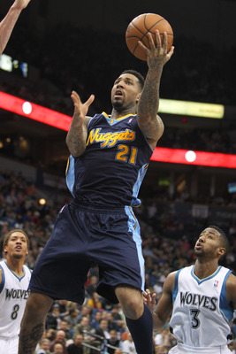 Mar 25, 2012; Minneapolis, MN, USA; Denver Nuggets forward Wilson Chandler (21) shoots during the first quarter against the Minnesota Timberwolves at the Target Center. Mandatory Credit: Brace Hemmelgarn-USA TODAY Sports