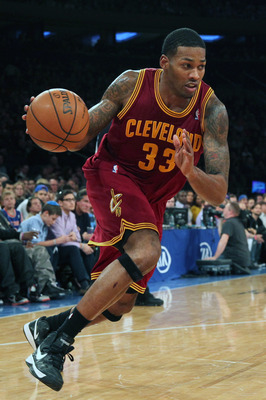Dec 15, 2012; New York, NY, USA;  Cleveland Cavaliers small forward Alonzo Gee (33) drives to the net during the second quarter against the New York Knicks at Madison Square Garden.  Mandatory Credit: Anthony Gruppuso-USA TODAY Sports
