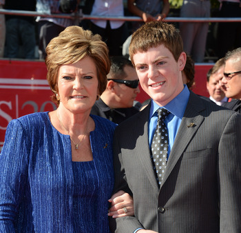 LOS ANGELES, CA - JULY 11: (L-R) Former Coach Pat Summitt and son Tyler Summitt  arrives at the 2012 ESPY Awards at Nokia Theatre L.A. Live on July 11, 2012 in Los Angeles, California.  (Photo by Frazer Harrison/Getty Images)