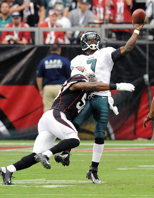 Michael Vick took a beating behind a lackluster offensive line before losing his starting job.
