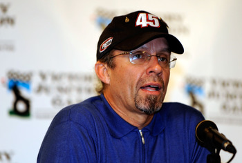 Kyle Petty is seldom seen without his 45 cap