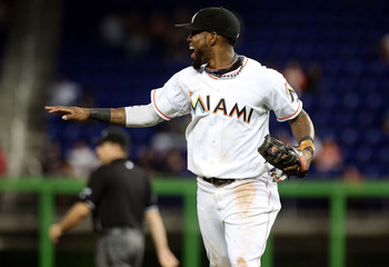 MIAMI, FL - OCTOBER 01: Jose Reyes #7 of the Miami Marlins reacts against the New York Mets at Marlins Park on October 1, 2012 in Miami, Florida.  (Photo by Marc Serota/Getty Images)