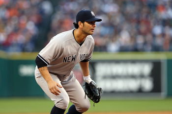 Eric Chavez plays in place of Alex Rodriguez at third base during Game 4 of the ALCS against the Detroit Tigers