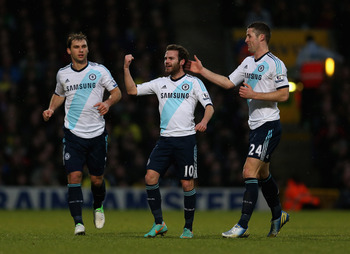 Juan Mata celebrates his winning goal for Chelsea at Norwich.