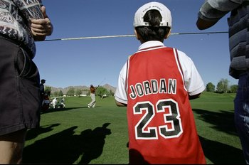 17 Dec 1998: General view of a young Michael Jordan fan watching the action during the Lexus Challenge Citrus Course at La Quinta Country Club in La Quinta, California. Mandatory Credit: Jonathan Ferrey  /Allsport