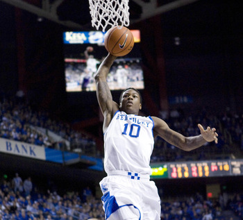 Dec 8, 2012; Lexington, KY, USA; Kentucky Wildcats guard Archie Goodwin (10) lays the ball up against the Portland Pilots in the second half at Rupp Arena. Kentucky defeated Portland 74-46. Mandatory Credit: Mark Zerof-USA TODAY Sports