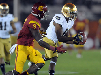 Russell had a standout freshman season racking up 50 tackles and two INTs, including this one against USC's Marqise Lee.