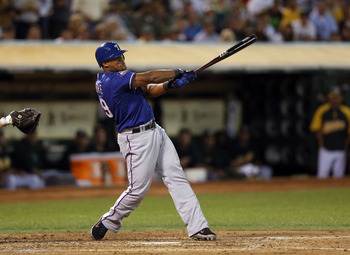 OAKLAND, CA - OCTOBER 01:  Adrian Beltre #29 of the Texas Rangers bats against the Oakland Athletics at O.co Coliseum on October 1, 2012 in Oakland, California.  (Photo by Ezra Shaw/Getty Images)