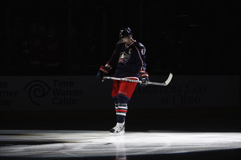 Rick Nash making his entrance before a home game.