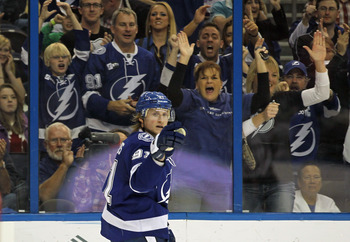 Steven Stamkos celebrating one of his many goals from this past season.