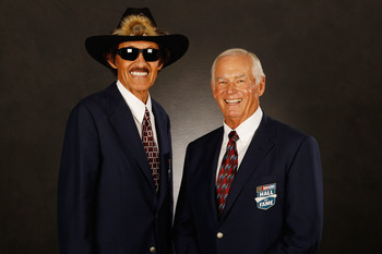 CHARLOTTE, NC - JANUARY 20:  Members of the NASCAR Hall of Fame Richard Petty and Dale Inman pose for a photo after the NASCAR Hall of Fame Induction Ceremony on January 20, 2012 in Charlotte, North Carolina.  (Photo by Chris Graythen/Getty Images for NAS