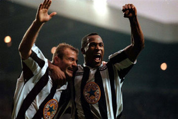 Shearer and Ferdinand Celebrate the 5-0 Massacre