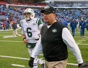 Mark Sanchez and Rex Ryan at Ralph Wilson Stadium in what may have been Sanchez's final appearance as a Jet.