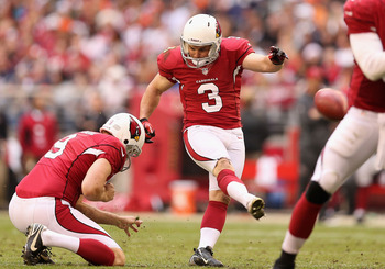 Jay Feely (center) has missed just three field goals all year.