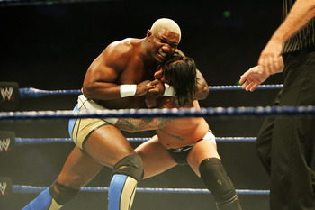 SYDNEY, AUSTRALIA - JUNE 15:  Shelton Benjamin puts CM Punk into a headlock during WWE Smackdown at Acer Arena on June 15, 2008 in Sydney, Australia.  (Photo by Gaye Gerard/Getty Images)
