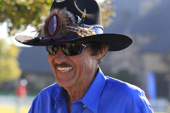 WEDDINGTON, NC - SEPTEMBER 27:  NASCAR legend Richard Petty, the Honorary Tournament Chairman, walks on the golf course during the first round of the Chiquita Classic held at The Club at Longview on September 27, 2012 in Weddington, North Carolina.  (Phot