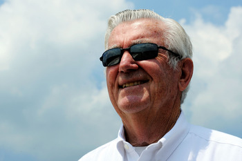 TALLADEGA, AL - MAY 04:  Former NASCAR driver Bobby Allison looks on during practice for the NASCAR Sprint Cup Series Aaron's 499 at Talladega Superspeedway on May 4, 2012 in Talladega, Alabama.  (Photo by John Harrelson/Getty Images for NASCAR)
